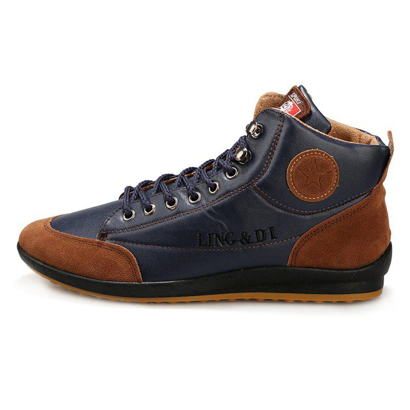 Stylish Comfortable Leisure Leather Casual Boots for Men - LAPIS BLUE EU 45