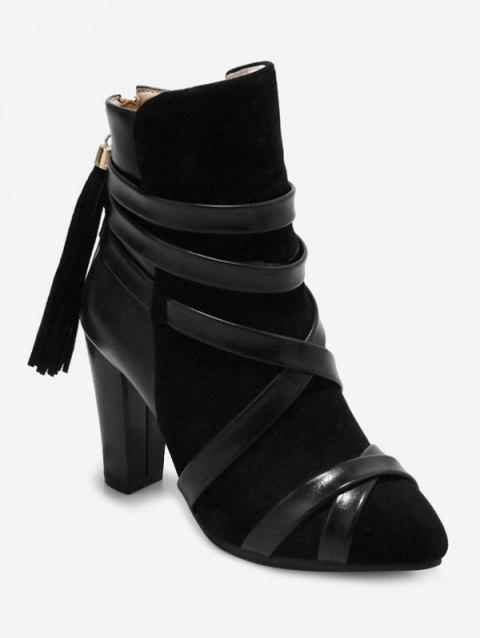 Plus Size Cross Strap Pointed Toe Ankle Boots - BLACK 37