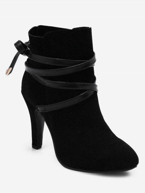 Plus Size Bowknot High Heel Ankle Boots - BLACK 36