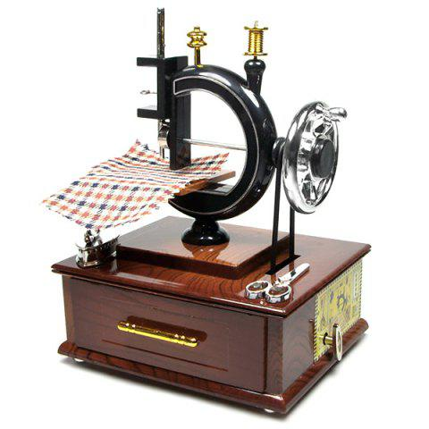 Retro Sewing Machine Music Box with Drawer Desktop Ornaments Gift - BROWN