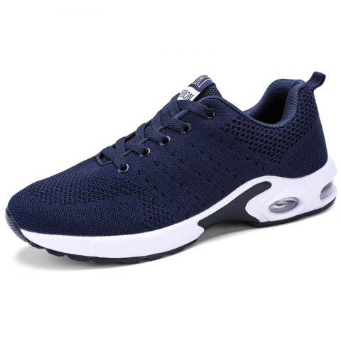 Men Lace Up Breathable Casual Running Shoes Sneakers - BLUE 40