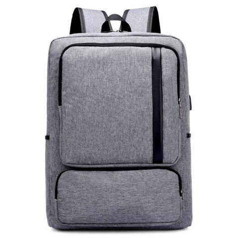 Oxford Fabric USB Charging Port Design Backpack - GRAY