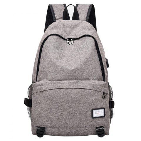USB Charging Port Design Polyester Backpack - GRAY