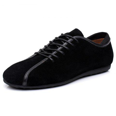 Suede Loafers Casual Flat Shoes for Men - BLACK EU 39