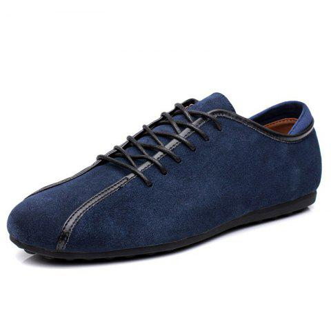 Suede Loafers Casual Flat Shoes for Men - DEEP BLUE EU 41