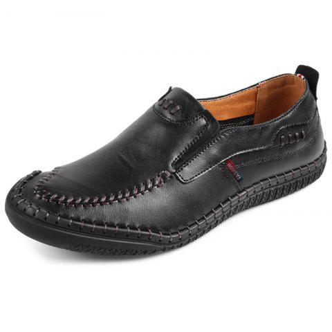 Stylish Genuine Leather Shoes for Men - BLACK 44