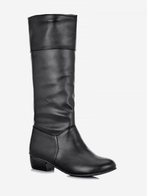 Plus Size Solid Color Fold Over Mid Calf Boots - BLACK 40