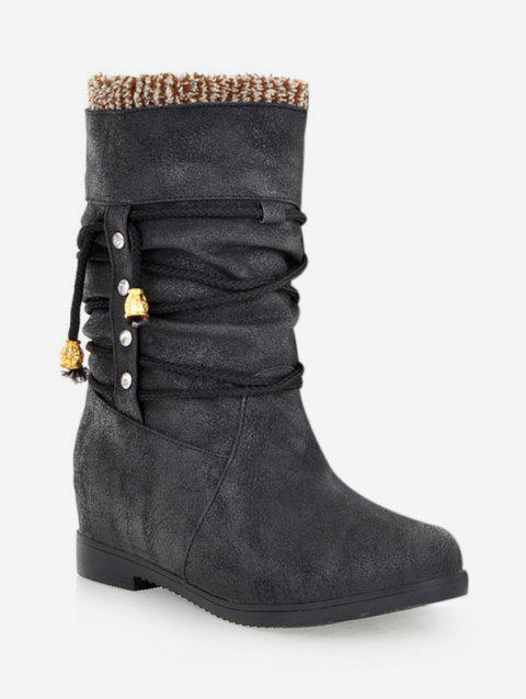 Plus Size Lace Wrap Hidden Heel Ankle Boots - BLACK 40