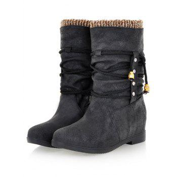 Bottines à talon caché en dentelle - Noir 38