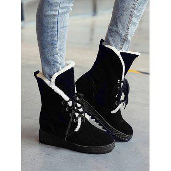 Plus Size Lace Up Faux Fur Flat Boots - BLACK 42