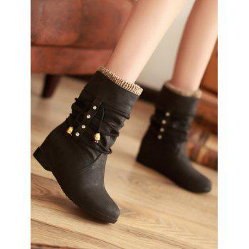 Plus Size Lace Wrap Hidden Heel Ankle Boots - BLACK 36