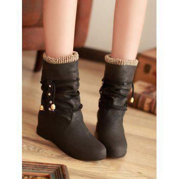 Plus Size Lace Wrap Hidden Heel Ankle Boots - BLACK 39