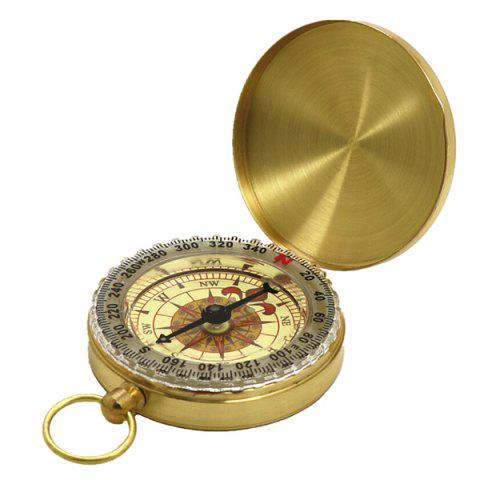 Metal Flip Acrylic Compass Outdoor Copper Pocket Watch - BRIGHT YELLOW