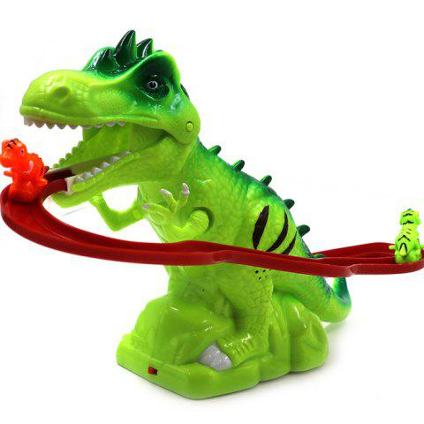 Electric Tracks Climb Stair Dinosaur Model Toy Set with Sound for Kids - YELLOW GREEN