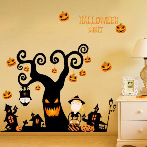 Halloween Tree Pattern Wall Sticker - BLACK