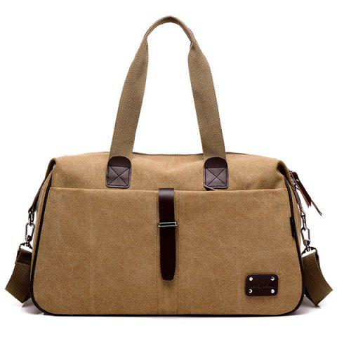 Large Capacity Canvas Portable Travel Bag - CAMEL BROWN