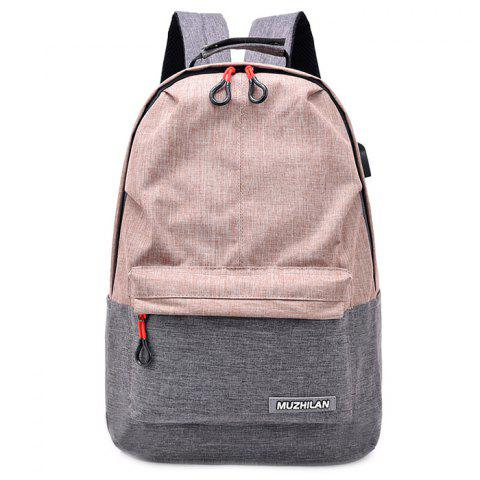 Waterproof External USB Port Design Backpack - SAKURA PINK
