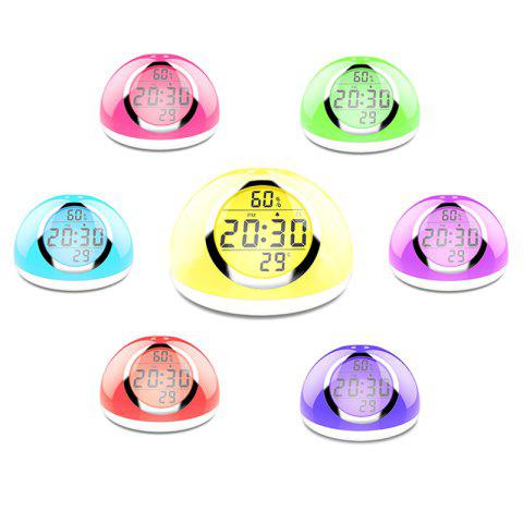 D9 Colorful Light Sunrise Alarm Clock with Natural Sound Gesture Sensing Snooze Function for Kids - WHITE