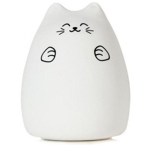 Creative Silica Gel Night Light 1pc - WARM WHITE FORTUNE CAT INCLEDED REMOTE