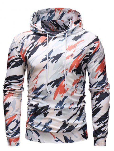 Fashion Leisure Comfortable Cotton Print Hooded Hoodie for Men - WHITE M