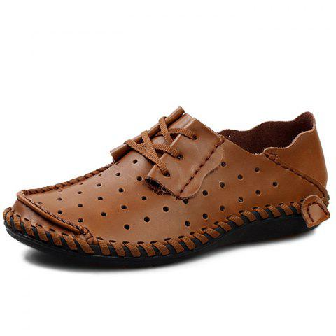 Stylish Breathable Anti-slip Lace-up Leather Loafer Shoes for Men - LIGHT BROWN EU 42