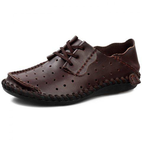 Stylish Breathable Anti-slip Lace-up Leather Loafer Shoes for Men - SEPIA EU 39