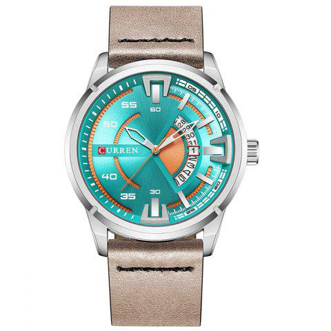 CURREN 8298 Leisure Calendar Waterproof Quartz Watch for Men - LIGHT SEA GREEN