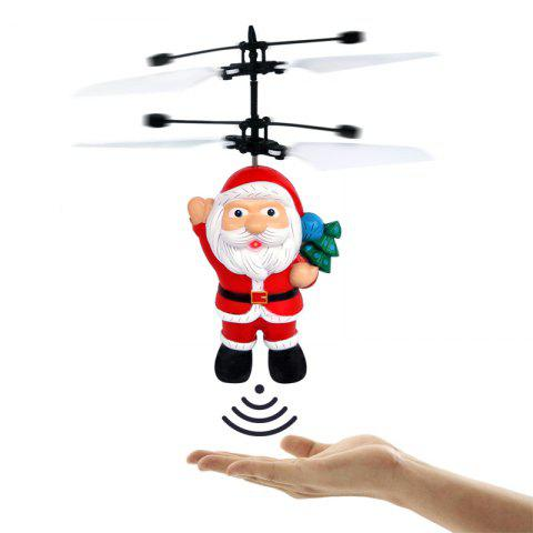 Electric Santa Claus Hand Induction Flying Doll Cartoon Suspension Aircraft Toys for Children - SCARLET