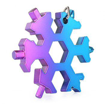 GE001C 19-in-1 Snowflake Appearance Hexagonal Wrench Tool Portable Key Ring - BUTTERFLY BLUE