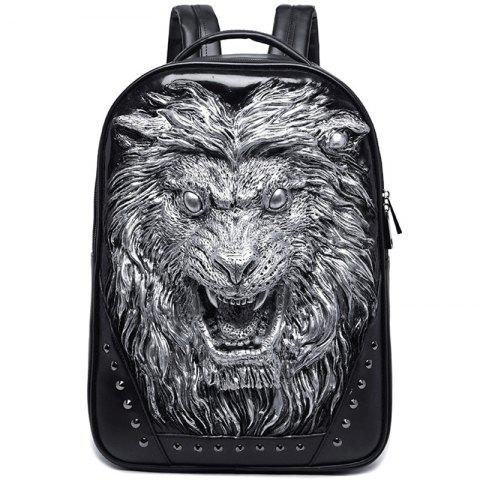 Liyongyi Stylish Street 3D Lion Design PU Backpack - PLATINUM