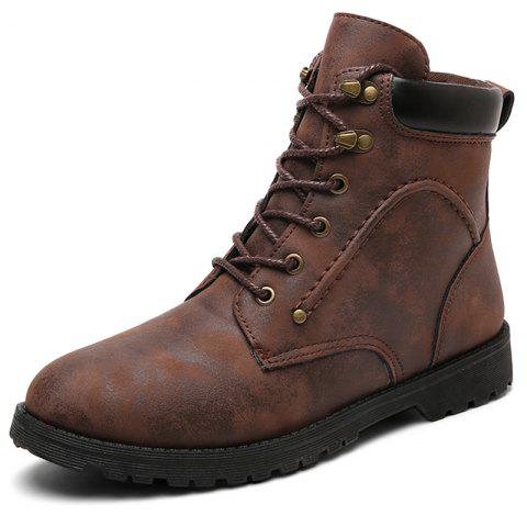 Wear-resistant Brushed High-top Men Lace-up Boots - BROWN EU 41
