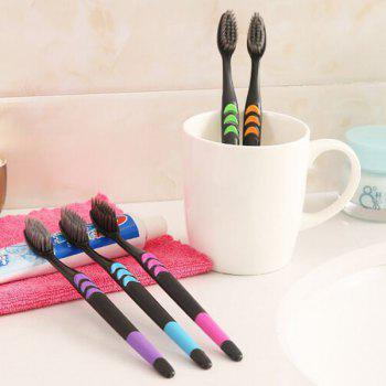 Soft Bristles Bamboo Charcoal Nano Toothbrush 5-color Design for Whole Family 10pcs - multicolor