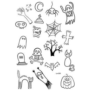 Waterproof One-time Funny Luminous Halloween Tattoo Stickers - multicolor A