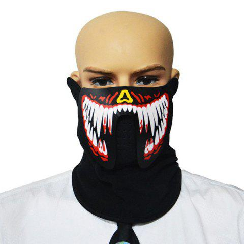 Halloween Voice Control LED Glowing Mask for Costume Party - BLACK M003