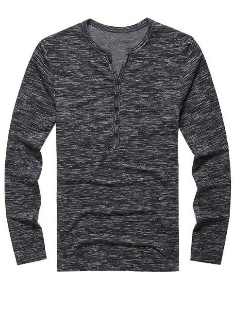 Chic Leisure Long Sleeve Cotton T-shirt for Men - ASH GRAY 2XL