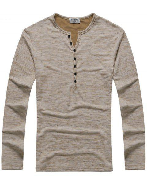 Chic Leisure Long Sleeve Cotton T-shirt for Men - TAN L