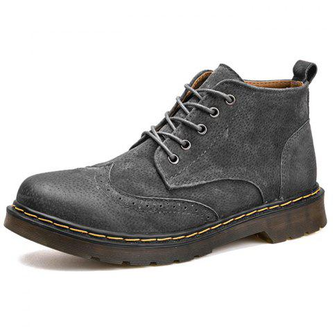 Fashion Winter Leather Martin Boots for Man - GRAY EU 43