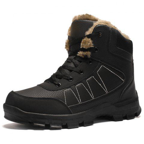 Men's High-top Leather Warm Boots - BLACK EU 42