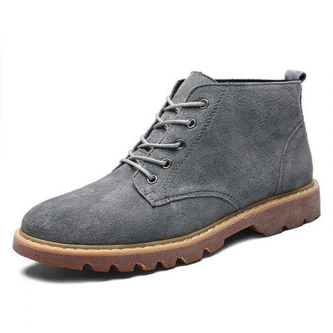 Fashion Suede Casual Lace Up Boots for Men - GRAY EU 42