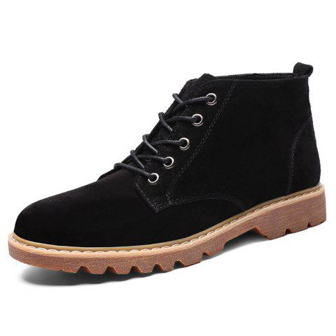 Fashion Suede Casual Lace Up Boots for Men - BLACK EU 42