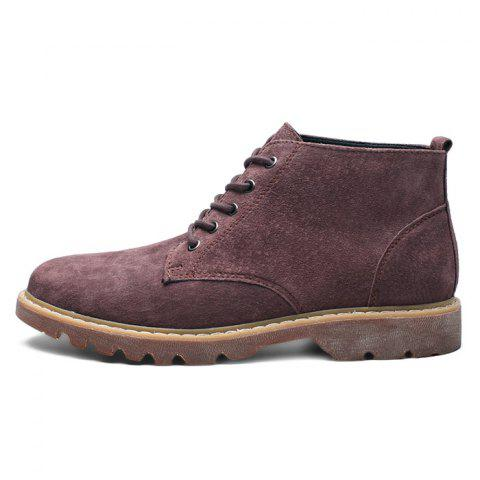 Fashion Suede Casual Lace Up Boots for Men - RED WINE EU 48