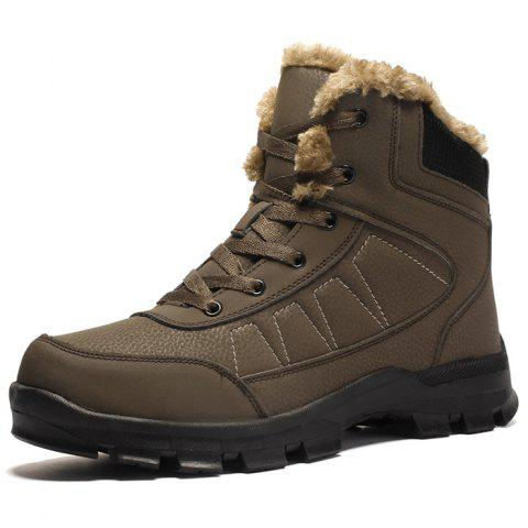 Men's High-top Leather Warm Boots - BROWN EU 43