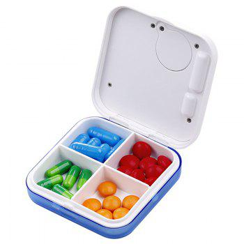Portable 4-compartment Pill Case with Diginal Alarm Clock - WHITE