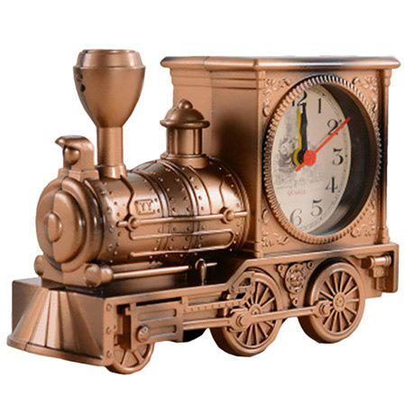 Creative Antique Locomotive Alarm Clock Student Fashion Plastic Model Decoration Toy - CINNAMON