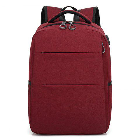 Casual Smart USB Recharge Business Backpack - RED WINE