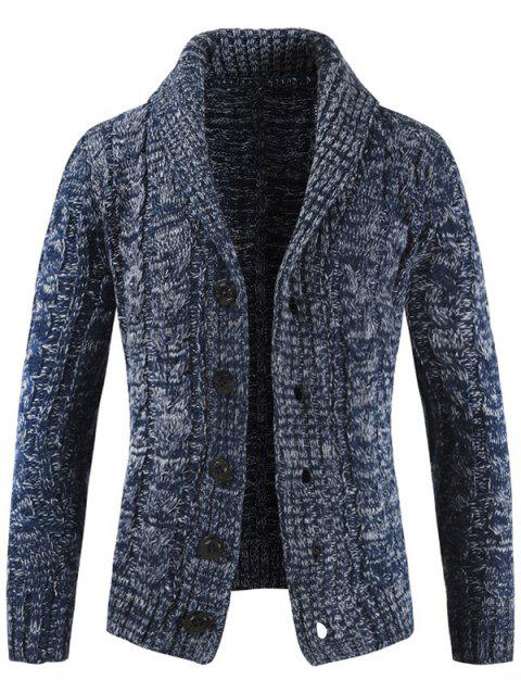 Pull-down col en tricot pull cardigan pour homme - Cadetblue XL