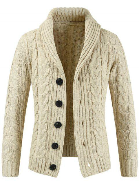 Pull-down col en tricot pull cardigan pour homme - Beige 2XL