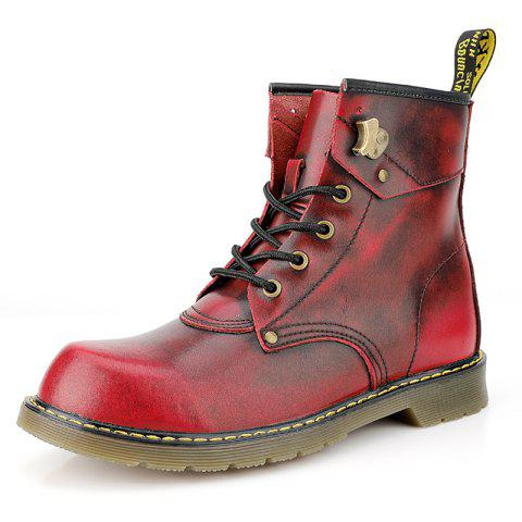 Fashion Comfortable High-top Classic Martin Boots for Men - RED WINE EU 46