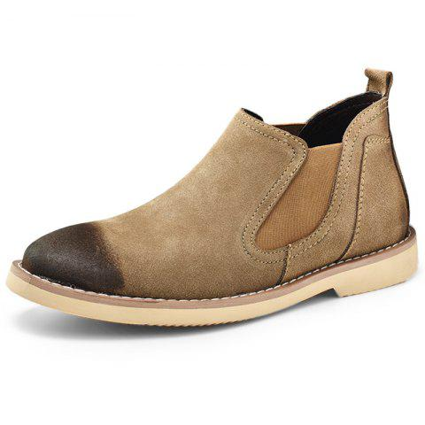 Stylish Wear-resistant Low-top Slip-on Men Casual Boots - KHAKI EU 40