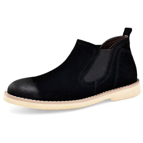 Stylish Wear-resistant Low-top Slip-on Men Casual Boots - BLACK EU 39